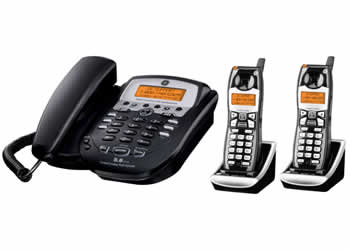 GE 25982EE3 Corded Desktop Phone with Two 5.8GHz Edge Cordless Handsets