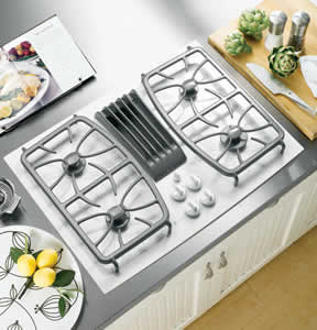 GE PGP989TNWW Profile Built-In Gas Downdraft Cooktop